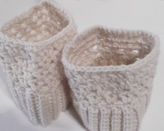 Boot Cuffs Off White Ribbed with Lacy Top Handmade Several Sizes Available