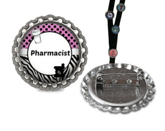Pharmacist Lanyard Pin lanyard clip id, pharmacy id, id tag, retractable id, lanyard id, tag, badge holder, badge clip, name badge holder