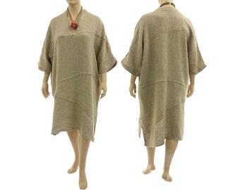 Oversized linen dress, natural linen dress, wide linen dress with diagonal seams / lagenlook for plus size women, size L-XXL, US size 16-24