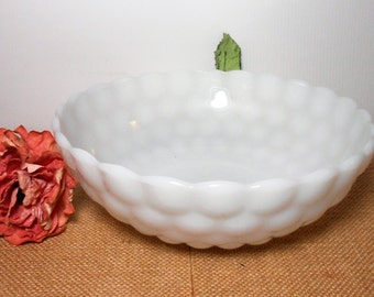 Vintage Bowl, Milk Glass, Bubble, Anchor Hocking, Large, Serving Bowl, White, Milk Glass, Mixing Bowl, White Bowl, Milk Glass Bowl