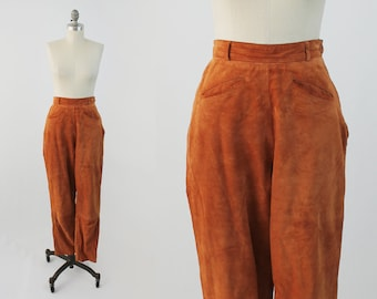 Vintage High Waisted Suede Pants - 80s 90s Chic Designer Rust Orange Skinny Leather Trousers by Bergdorf Goodman - Small to Medium S / M