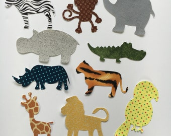 Iron On Appliques - Jungle Animal Safari Theme - for Baby Shower Craft Kit