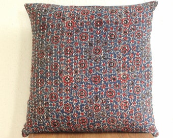 Indigo Kantha Pillow cover, Natural dye color Floral Block print kantha cushion covers, home decor, kantha decor