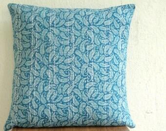 Kantha Pillow cover,Paisley print teal pillow, kantha cushion covers, teal blue pillow cover, Paisley print pillow cover, kantha decor