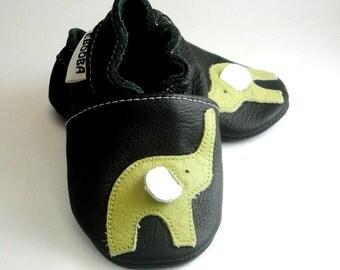 soft sole baby shoes elephant olive black 6 12 m ebooba EL-8-B-T-2