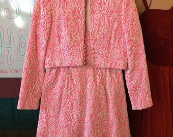 1960s vintage Ceil Chapman neon pink and white textured brocade two-piece dress