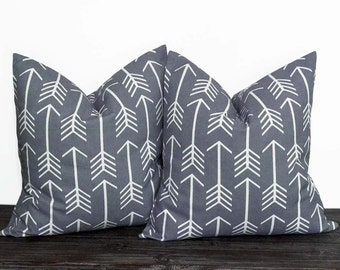 10 Sizes Available - Gray and White Arrow Pillow Set - Neutral Pillow Covers - Grey and White - TWO PILLOW COVERS - Arrows