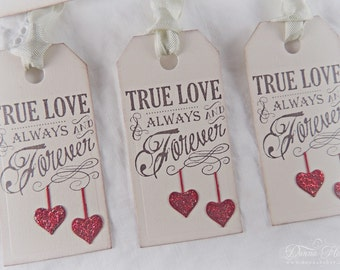 Valentine's Day Gift Tags, Valentine Tags, True Love Tags, Heart Tags, Shabby Chic Tags, Party Favor Tags - Set of 6