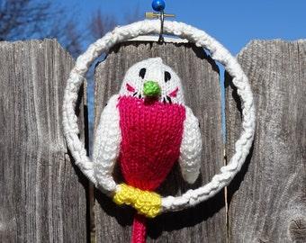 Parakeet, Budgie, Stuffed Bird, Knitted Jungle Bird, Plush Bird, Home Decor, Parrot, Handmade Home Decor