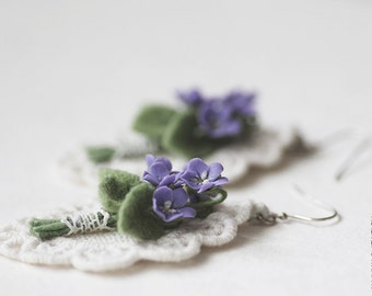 English Violet Flowers Earrings - OOAK Earrings - Flower Jewelry - Wedding Earrings - Lace Earrings