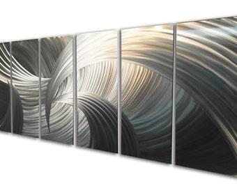 Metal Wall Art Aluminum Decor Abstract Contemporary Modern Sculpture Hanging Zen Textured - Tempest 48x125