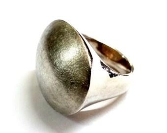 Large Modern Brushed Sterling Silver Ring