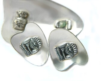 Mexico 900 Silver Set Pre Colombian Tribal Inca Aztec Mayan Brooch and Earrings With Green Stone Vintage Minimal Modernist Jewelry C Clasp