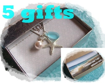 5 STARFISH NECKLACES - Starfish Necklace, Starfish Jewelry, Bridal Party, Bridesmaid Gift,  Bridesmaids Jewelry