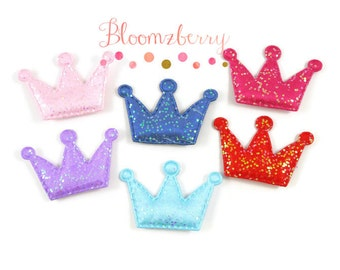 """1.5"""" Crown Padded/ Appliques - Crown Padded - Crown Appliques - Assorted Color - Birthday/Holidays/Party- Hair Accessories Supplies"""