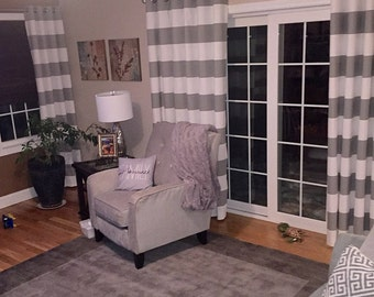 Storm Gray White Modern Horizontal Stripe Cabana Curtains - Grommet - 84 96 108 or 120 Long by 24 or 50 Wide Optional Blackout Lining