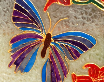 Butterfly Painted Glass