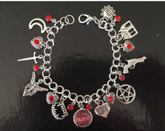 SALE True Blood Light Charm Bracelet, Sookie, Bill, Vampire, Blood, Fangs, Eric
