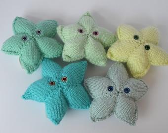 Knitted Stuffed Stars, Amigurumi Stars, Knit Nursery Decor, Star Room Decor, Knit Stars Mobile, Knit Star Toy, Whimsical Stars, Nursery Knit