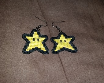 Mario Star Cross Stitched Earrings