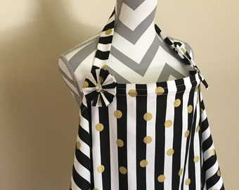 Stripes Nursing Cover - gold polka dots on black and white stripes print breastfeeding cover hooter hider with a fabric flower clippie - Rea