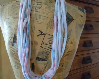 Handmade Pink & Blue T-Shirt Chakra Scarf, Infinity Scarf from Recycled Shredded Jersey Knit Fabric or T-shirt Yarn #1118