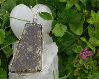 B4 Energy Art  Herkimer Diamond & Hematite Wire Wrapped PENDANT! Powerful personal orgone life force energy producer :)