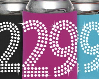 29th Birthday Can Cooler Party Favor -  29th Birthday, Birthday Party Favors, Can Cooler ,Birthday Idea, Party Favor, Beverage Holder,