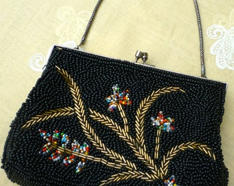 Black FLORAL 1940/50s Beaded Framed EVENING BAG. Valentines Gift