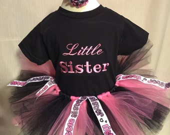 Little sister outfit tutu embroidered shirt and hair bow
