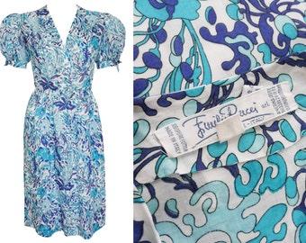 Emilio Pucci 1970s Vintage Printed Summer Dress Cotton White Aqua Blue US Size 4-6 XS Small