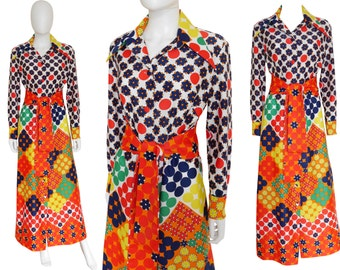 LANVIN 1970s Vintage Belted Maxi Hostess Gown Dress Coat Multi-Colored Graphic Print US Size 10 Medium