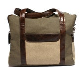 SALE Men's leather canvas bag, leather canvas man bag,  large bag, handbag leather purse,  ipad macbook bag , minimalist bag, gift for him