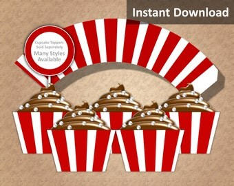 Crimson Red, White Stripe Cupcake Wrapper Instant Download, Movie Night, Nautical, Whimsical, Party Decorations