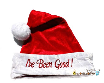I've Been Good Red Christmas Statement Hat, Santa Hat or Elf Hat for Children, Teens and Adults - Elf Hat, Santa Hat