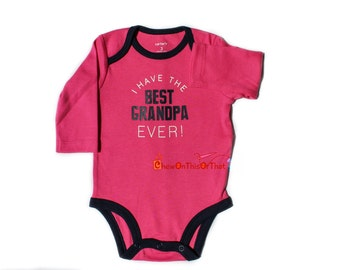 Best Grandpa Ever Personalized Pink and Blue Long Sleeve Statement Onesie, Bodysuits, Top, Shirt for Newborns, Babies and Baby Girl Doll