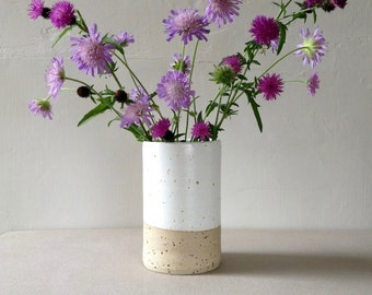 Modern Stoneware Vase - Simple Straight Cylinder, White Glaze, Speckle Clay, Handthrown Pottery