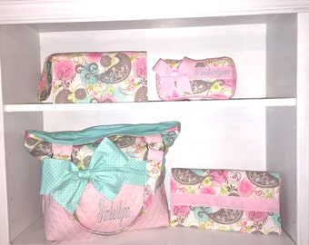 Personalized Diaper Bag Set In Pink & Aqua. Add On Matching Accessories. Free Embroidery