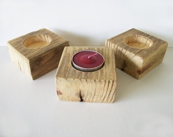 Tealight Candle Holders Set of 3 Reclaimed Wood Rustic Wedding Decor Table Decoration Tealight