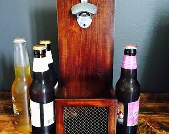 Wood Bottle opener with cap collector