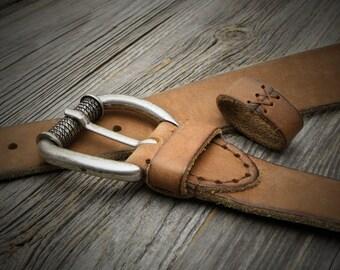 Ocher Aged Leather Belt, Mens Leather Belt, Womens Leather Belt, Distressed Belt, Vintage Belt, Sturdy Belt, Ocher Belt, Custom Belt