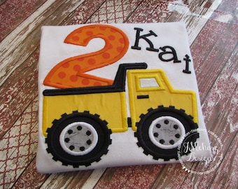 Dump Truck Birthday Applique shirt - Customizable -  Infant to Youth 54