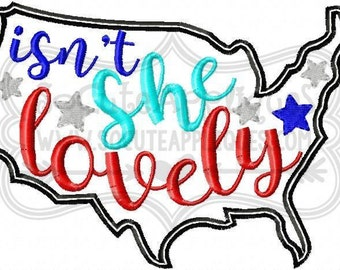Isn't She Lovely - America - Patriotic Embroidered tee - Customizable -  Infant to Youth