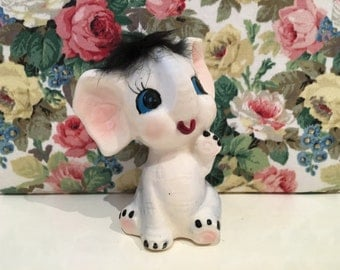 Vintage Cute Kitsch Furry Hair Elephant Figurine