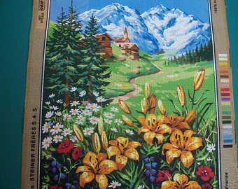 Lilies,Mountain Scene Needlepoint Canvas,Alpine Tapestry - FREE SHIPPING
