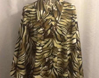 Tiger Print Collared Poncho and Matching Newsboy Cap