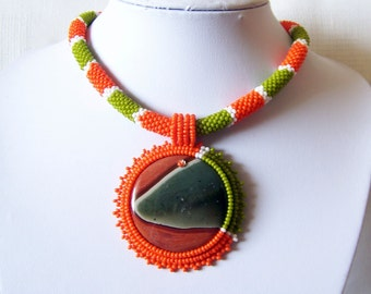 Beadwork Bead Embroidery Pendant Necklace with Jasper - SNAKE DREAM - Geometric - Summer Fashion - orange, moss green and white