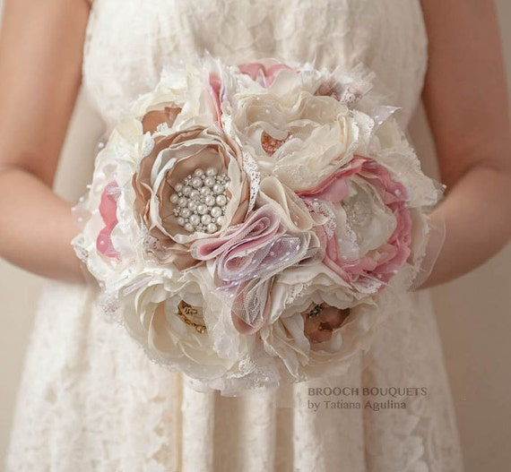 Silk flower style Cabbage Roses with rhinestone and pearl brooches