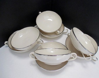 Franciscan Fine China Encanto Shape - Platinum Band Pattern - Set of 4 Cream Soup Bowls (2 sets available)
