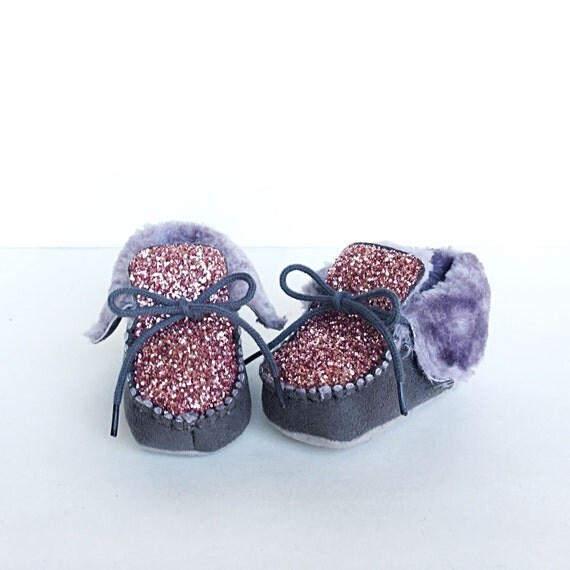 baby glitter shoes grey gray toddler boots bubblegum
